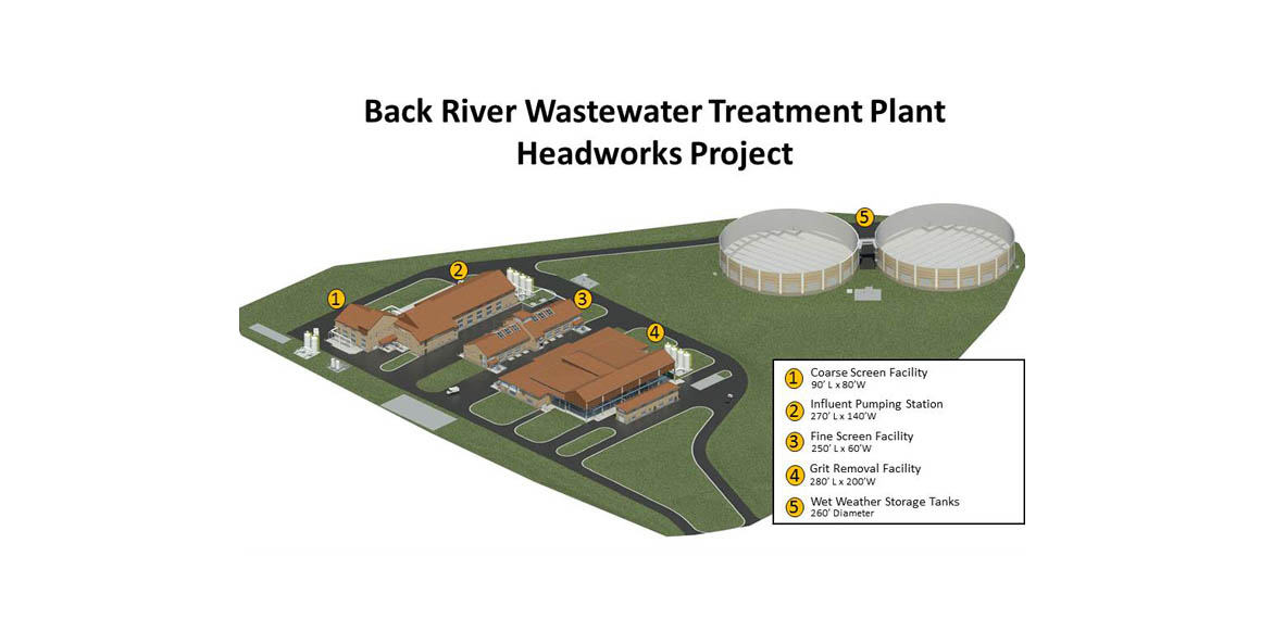 Drawing showing the campus updates of the Headworks Project at the Back River Wastewater Treatment Plant.