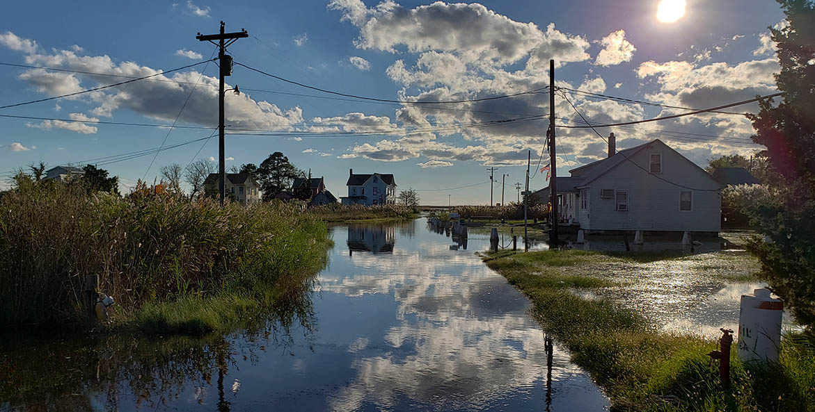 Flooded streets and yards on a sunny day.