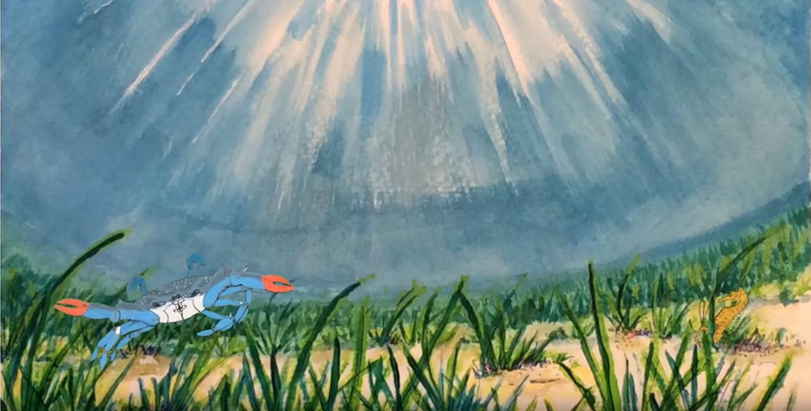 Animation of a blue crab under water in front of underwater grasses.