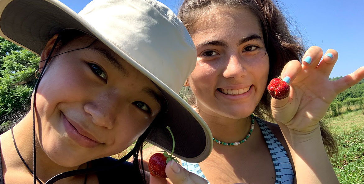 Two girls hold strawberries