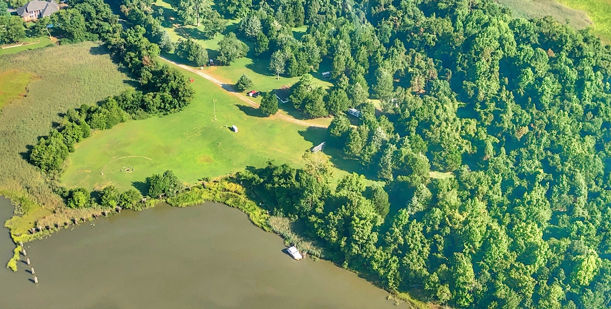 Aerial view of riverfront property.
