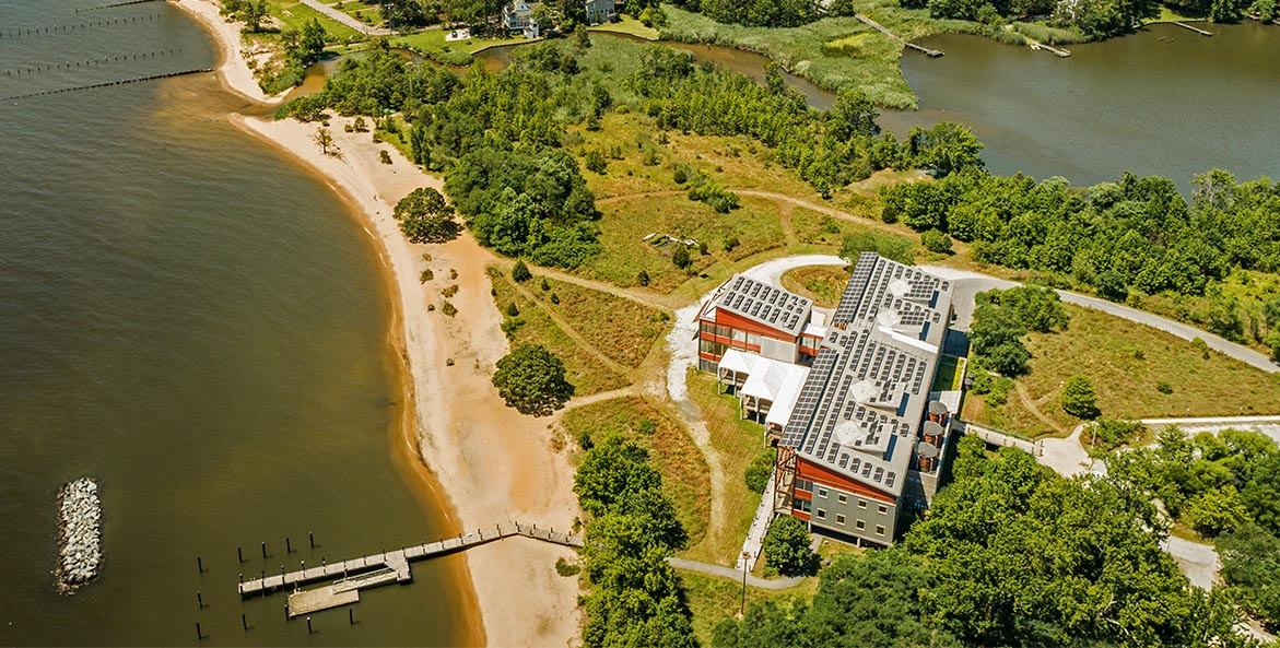 Philip Merrill Environmental Center aerial PeakVisuals 1171x593