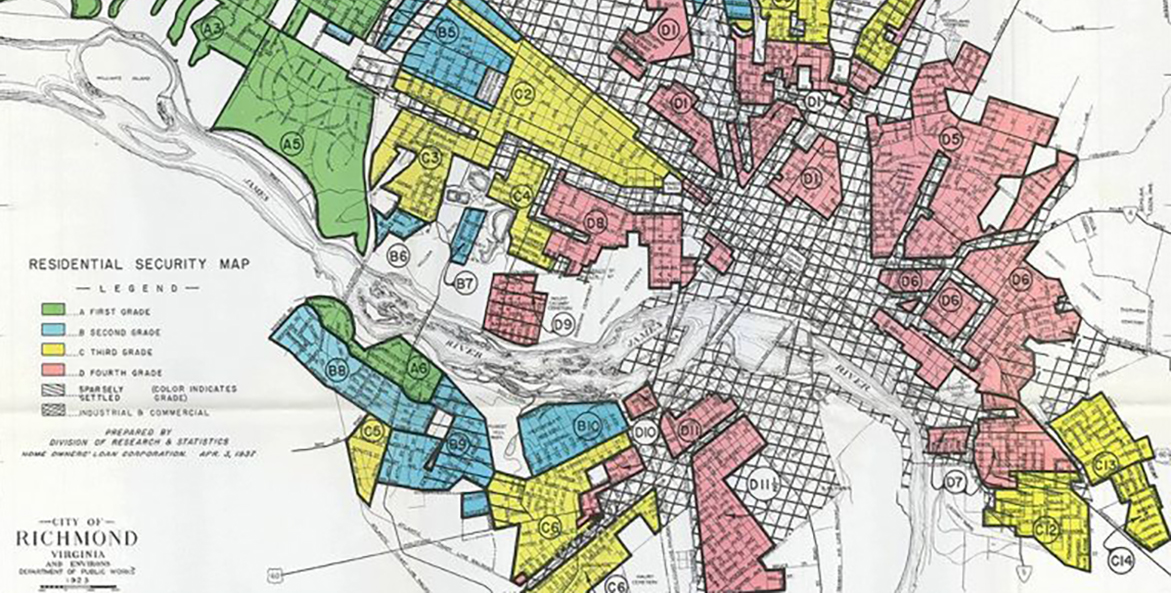 A Residential Security map of Richmond is colored green, blue, yellow, and red.