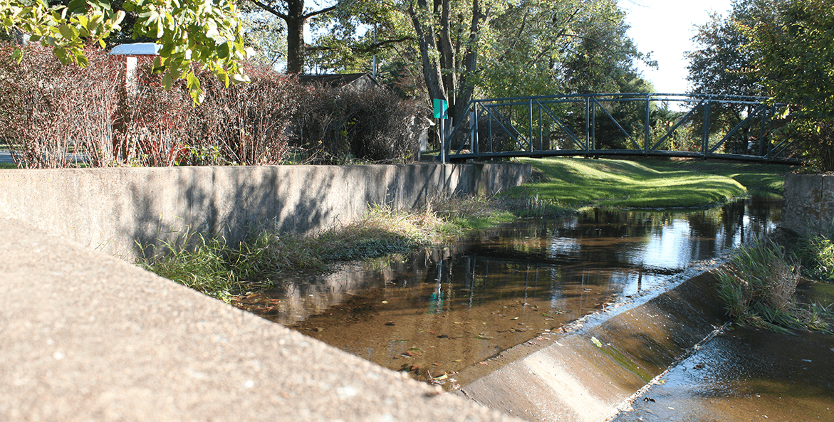 Concrete stormwater spillway in a township park in Derry Township, Pennsylvania.