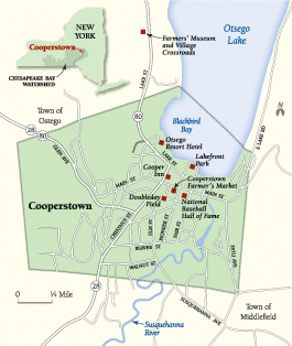 Map of Cooperstown, NY.