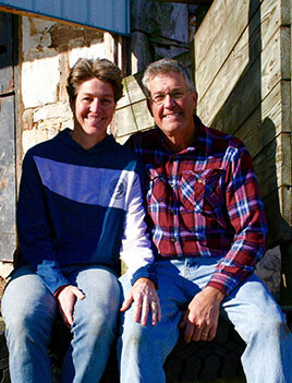 Photo of Steve and Ruth Ann Derrenbacher, 3rd generation farmers.