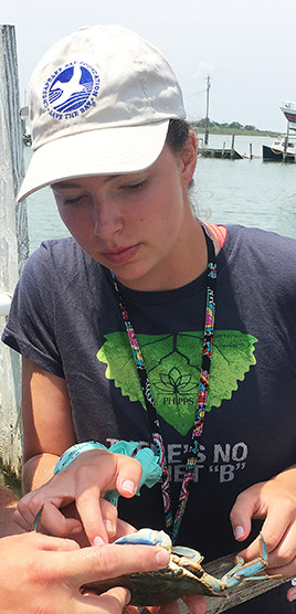 Student leader Emma Stone examines a blue crab.