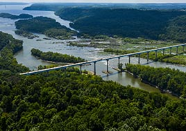 Aerial view of the Norman Wood Bridge across the Susquehanna River