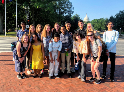 CBF Student Leaders in front of Capitol building