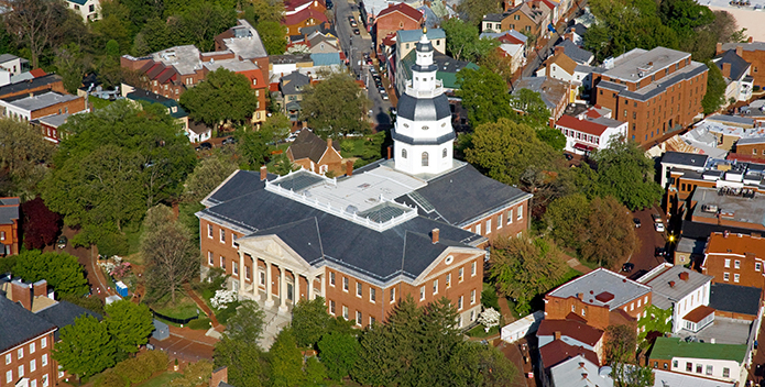 Aerial photo of the Annapolis State House 695x352