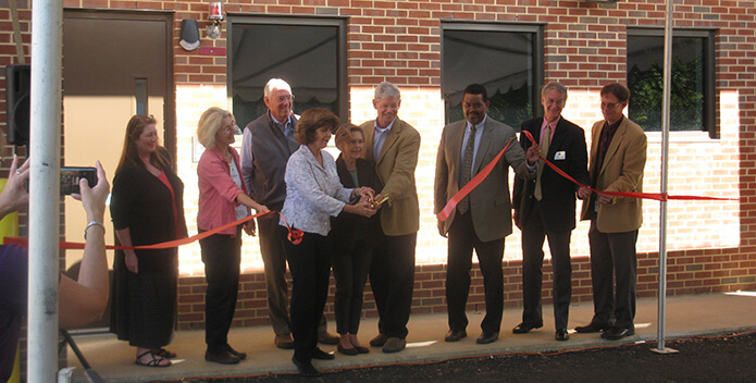 Photo of the ribbon cutting at Moores Creek wastewater facility in Charelottesville.