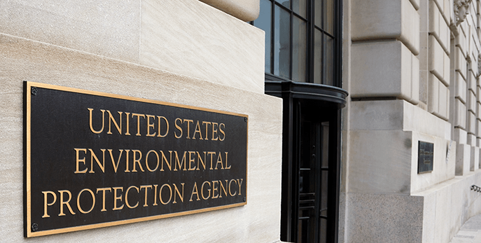 Closeup of Environmental Protection Agency sign on front of agency building.
