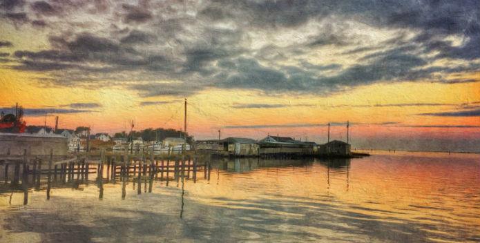 Image of a beautiful sunrise over Smith Island.