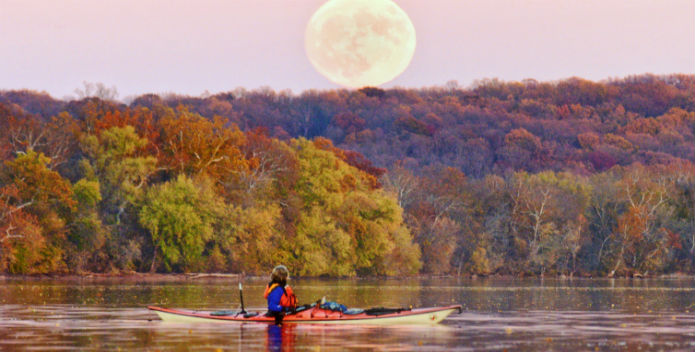 Image of the supermoon over the Potomac River.