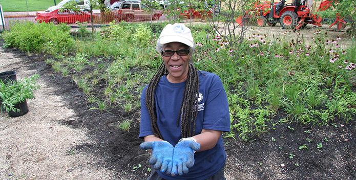 Rafiyqa Muhammad at Harrisburg PA rain garden - 965x352