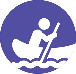 person rowing canoe