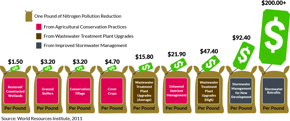 A graphic shows a series of bags identifying practices that reduce nitrogen pollution and their per pound cost for reduction.
