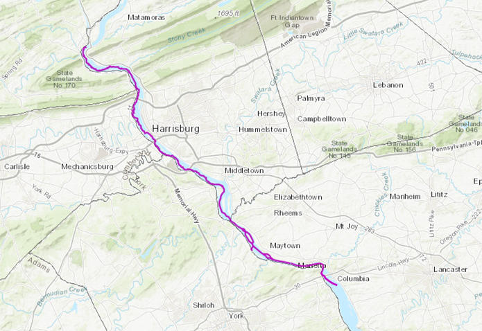 Map showing section of Susquehanna River marked in purple.