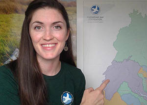 A CBF educators shows a map of the watershed during an online class.