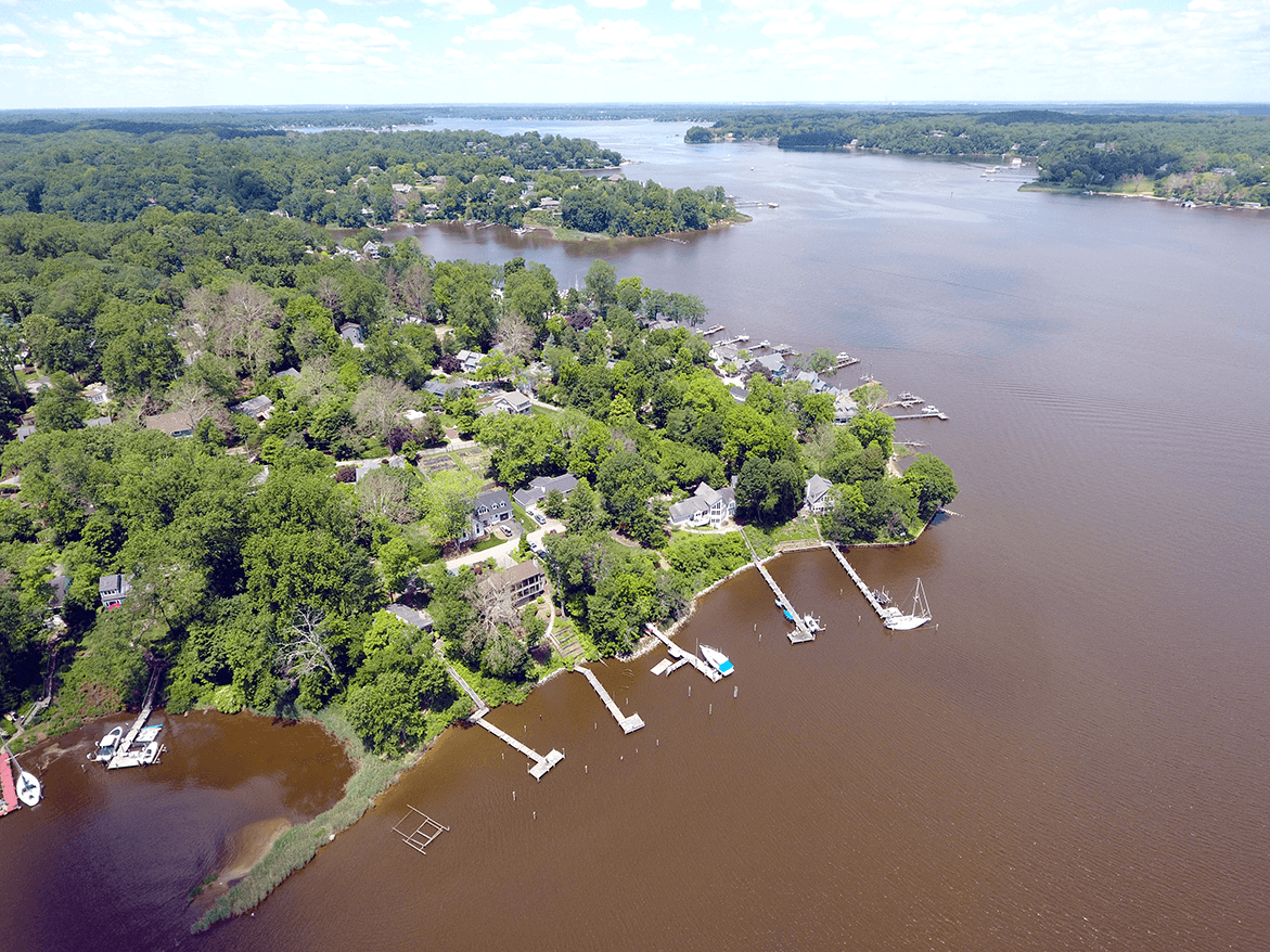 Aerial view of Maryland's Severn River shows the river is rust-red.