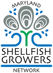 Graphic representation of three oysters above a blue wave and green sprout, with the words Maryland Shellfish Growers Network.