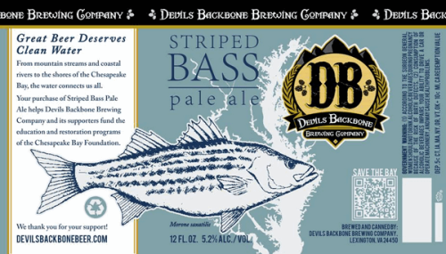 Label from a bottle of Striped Bass Pale Ale