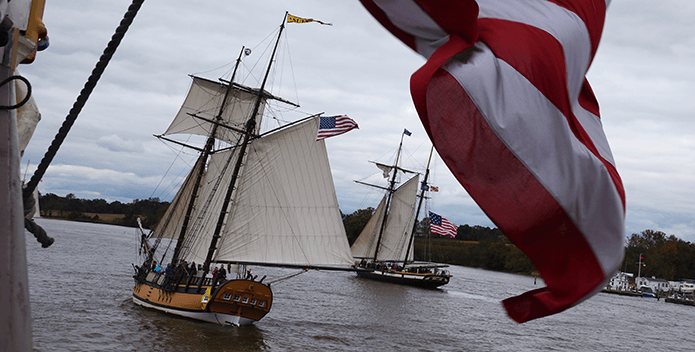 Two replica tall ships sail down the Chester River, MD.