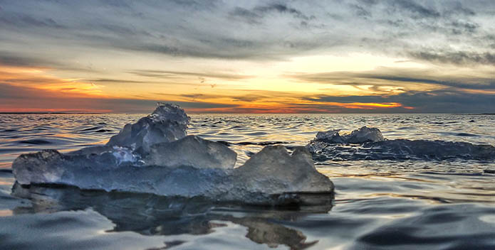 Photo of ice floating on water with the sun setting behind.